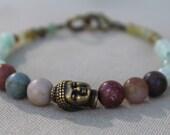 Matte Jasper, Jade and Stone Buddha Bracelet - Bohemian Zen