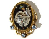 Vintage Intaglio Brooch Dancing Can Can Lady Reverse Carved Goofus Glass Pin