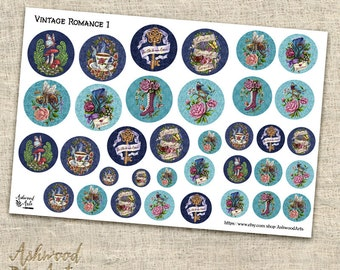 Shabby Chic Vintage Romance Floral Planner Sticker and Washi Tape Set