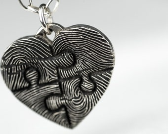 Fingerprint Puzzle Heart Necklace Puzzle Piece Sterling Silver Inkprint Jewelry