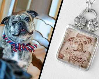 Dog Pet Portrait Necklace Custom Pendant Sterling Silver Paw Enamel Personalized