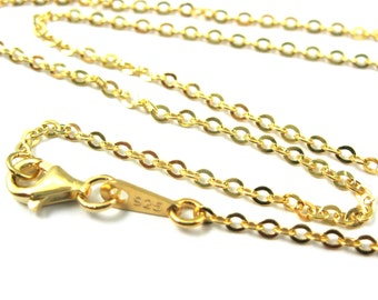 Gold Necklace Chain,Vermeil Sterling Silver Necklace-2.3mm Strong Flat Cable Chain- Finished Necklace,Ready to Wear-All Sizes-SKU: 601051-VM