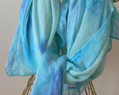 hand painted soft chiffon silk floaty scarf rectangular 56 x 46 inches blue tones