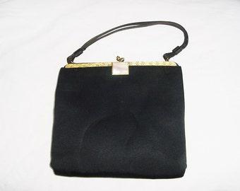 Vintage 60s Black Flat Satin Gold Trim Formal Purse Kelly Bag
