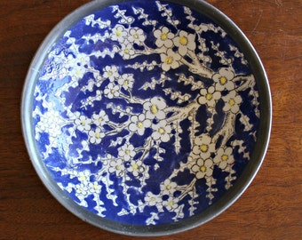 Hong Kong Ceramic Dish with Metal Cover/ ASIAN Home Decor/ Vintage Asian Porcelain Bowl