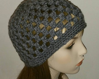 Crochet Beanie Cloche Hat in Heather Grey