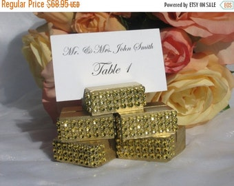 20% off ends 5pm Sun. Place Card Holder + Gold wedding place card holders trimmed with a gold crystal wrap -Set of 100