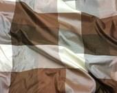 BROWN Check Silk TAFFETA Fabric - fat 1/4