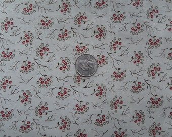 Windham Wisconsin Floral Beige Brown Red - Cotton Quilting Fabric  - fat 1/4 remnant