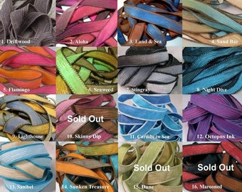 Hand Dyed Silk Ribbons, EXTRA Wrap Bracelet Replacement Silk Ribbons, Nautical Colors, Beach Tones, Vibrant Shades, Tie Dyed Hues, 14 COLORS