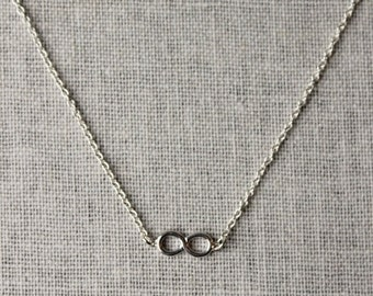 On SALE / CIJ Sale / Infinity Necklace, Sterling Silver Necklace Infinity Charm Minimalist Modern Layering Necklace Silver Chain