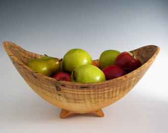 Wood Bowls - Curly Maple Wood Turned Fruit or Salad Bowl - Functional Wood Turned Bowl - Mother's Day - Wedding Gift - Wooden Bowl