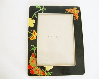 vintage photo frame cloisonne style black metal enamel with butterfly