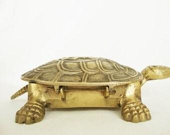 vintage brass turtle box hinged lid paperweight