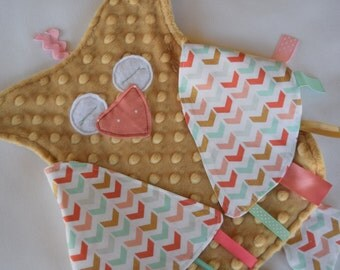 Arrow Owl Aztec Sensory Lovey - Pink, Gold, Mint Green, Woodland, Security Blanket