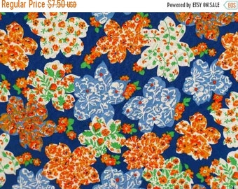 NOW ON SALE vintage fabric - floral in floral on blue - 1 yard