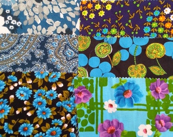 vintage fabric samples - 1970 fabric sample collection - BLUE - 8 pieces