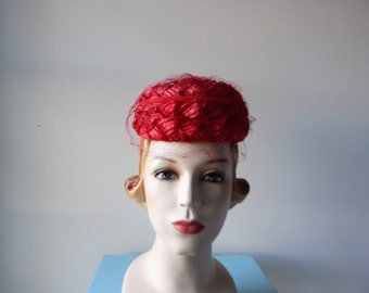 Vintage 1960's Straw and Fabric Hat