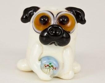 Cupcake Pug Lampwork Glass Bead