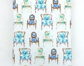 Gift Wrap, Wrapping Paper, Roll, French Chairs, Bergere, Furniture, Gift Wrap, Blue and White, Gift Wrapping, All Occasion, Original Design
