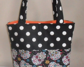 Large Sugar Skulls and Polka Dots Tote Bag Purse