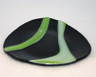 Olivine Shaped Fused Glass Platter in Black with Sour Apple Green