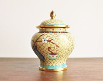 Vintage green cloisonne urn with lid