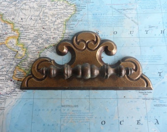 SALE! Slim vintage brass metal pull handle with large trimplate