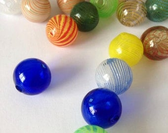 10 Assorted Colors  Handblown Glass Globe Beads 20mm Round Earring Necklace Pendant Making Hand Blown