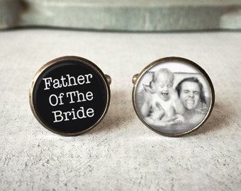 Father Of The Bride Cufflinks, Personalized Cufflinks, Custom Cufflinks, Photo Cufflinks, Picture Cufflinks, Picture Cuff LInks Gift For Dad