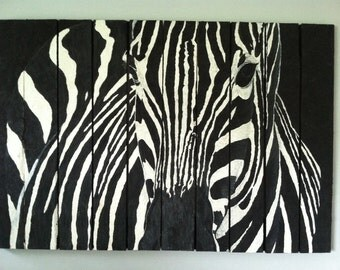 Reclaimed Wood Pallet Art *FREE SHIPPING* Zebra Pallet Wall Art 2 Piece Set