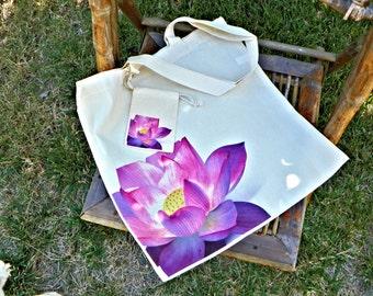 CottonTote Bag - Pretty Pink Lotus with matching small bonus bag