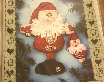 Felt Santa Hanging in Two sizes Pattern  13 and 5 inches tall, Uncut Vintage