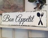 BON APPETIT, French Signs, Kitchen Signs, Bon Appetit Signs, Home Decor, 7 x 24