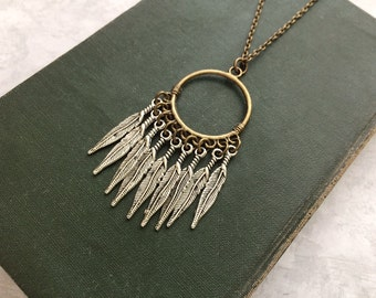 Feather Necklace, Bohemian Necklace, Tribal Necklace, Boho Chic, Hippie Necklace, Indie, Feathers, Silver Feathers, Long, Charm Necklace