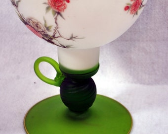 Bulbous Frosted Glss Pedestal Vase with Handle and Birds With Flowers
