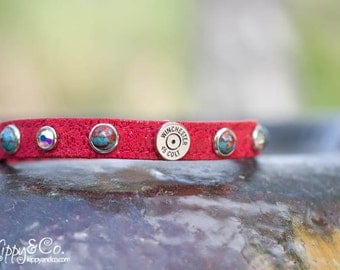 Red Collar//45 Winchester Collar// 1/2 inch Collar//Small Dog Collar//Custom Leather Collar//45 Winchester Dog Collar//Leather Dog Collar