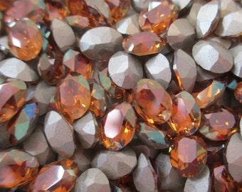 6pc 8x6mm Crystal Copper MC Swarovski Crystal Copper Triple Facets 8x6mm Ovals Iridescent Copper Iridescent Ovals