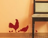 Rooster Vinyl Wall Decal, Chicken Vinyl Decal, Farm Decor, Country Family Farm Wall Art Decorations, Removable Vinyl