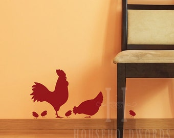 Rooster Decal Farmhouse Kitchen Wall Decor Chicken Vinyl Decal farmhouse kitchen decor Chicken Stickers Kitchen wall decals Rooster decal