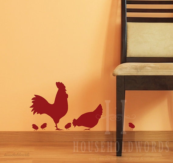 Rooster decal farmhouse kitchen wall decor chicken vinyl decal - Rooster wall decor kitchen ...