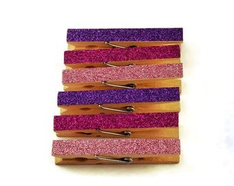 Glittered Clothespin  Clips  Decorative  Wooden Clothespins in Purple Passion