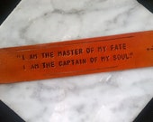 Invictus Poem Quote - I am the Master of My Fate, I am the Captain of my Soul - bookmark with tassel