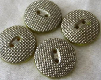 Set of 4 VINTAGE Silver lustered Yellow Glass BUTTONS