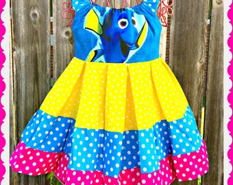 girls Finding Dory dress Dory peasant dress 2T 3T 4T 4/5 6/6X 7/8 10/12 and 14/16
