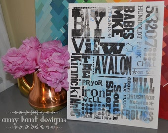 "Bay View Neighborhood Letterpress + Watercolor 8.5x11"" print"