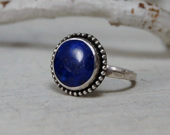 A+ Blue Lapis Lazuli Ring 12 mm Round Blue Sterling Silver Ring