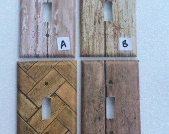 Switchplate Outlet Cover Distressed Wood Brown Brick Birch Pine White