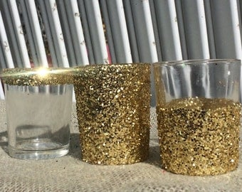 12 Gold Glitter Votive Candle Holders Wedding Party Favors