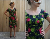 Vintage 60's Vibrant Floral Rose Print Knee Length Wiggle Dress with Short Sleeves by Maison Mendessolle | Medium